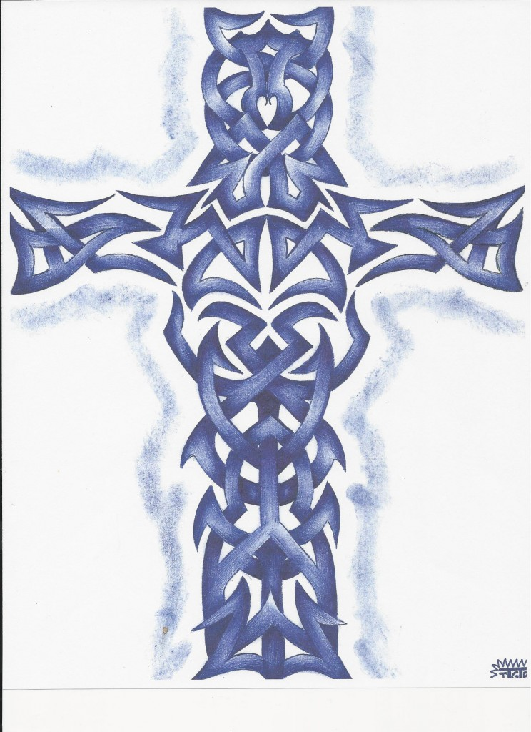 Blue Pen Tribal Cross Artist: Tom Robison II, Ohio